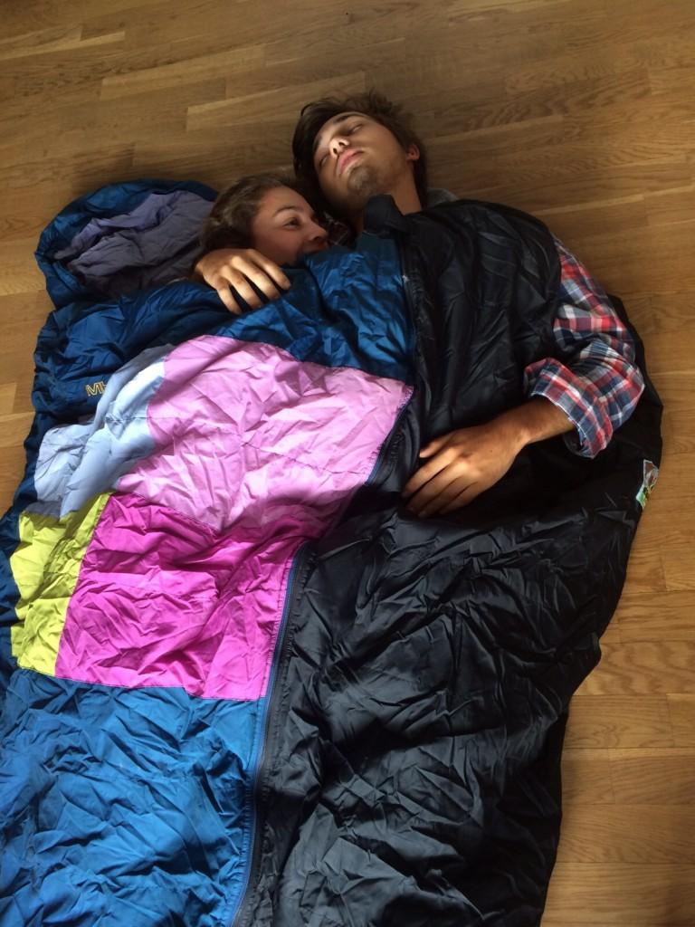 Schlafsack Probeliegen