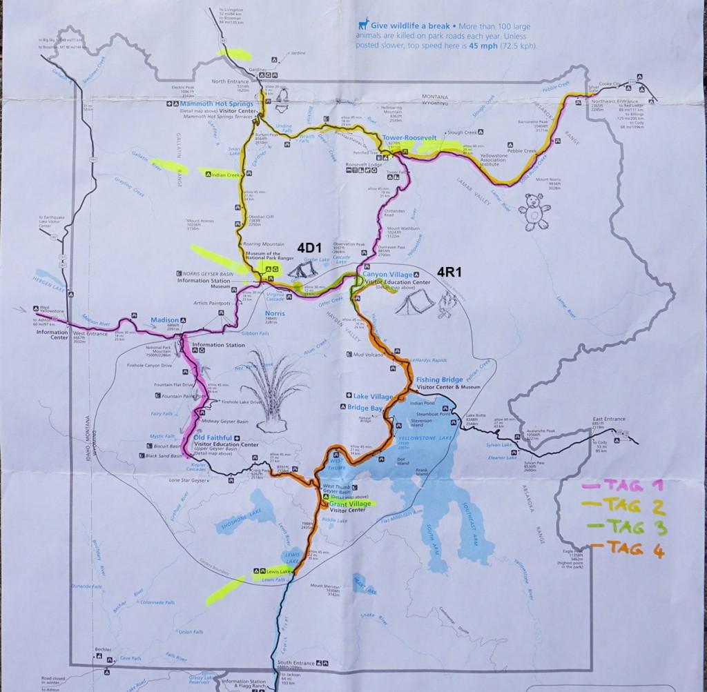 Farblich unterlegte Karte unserer Route