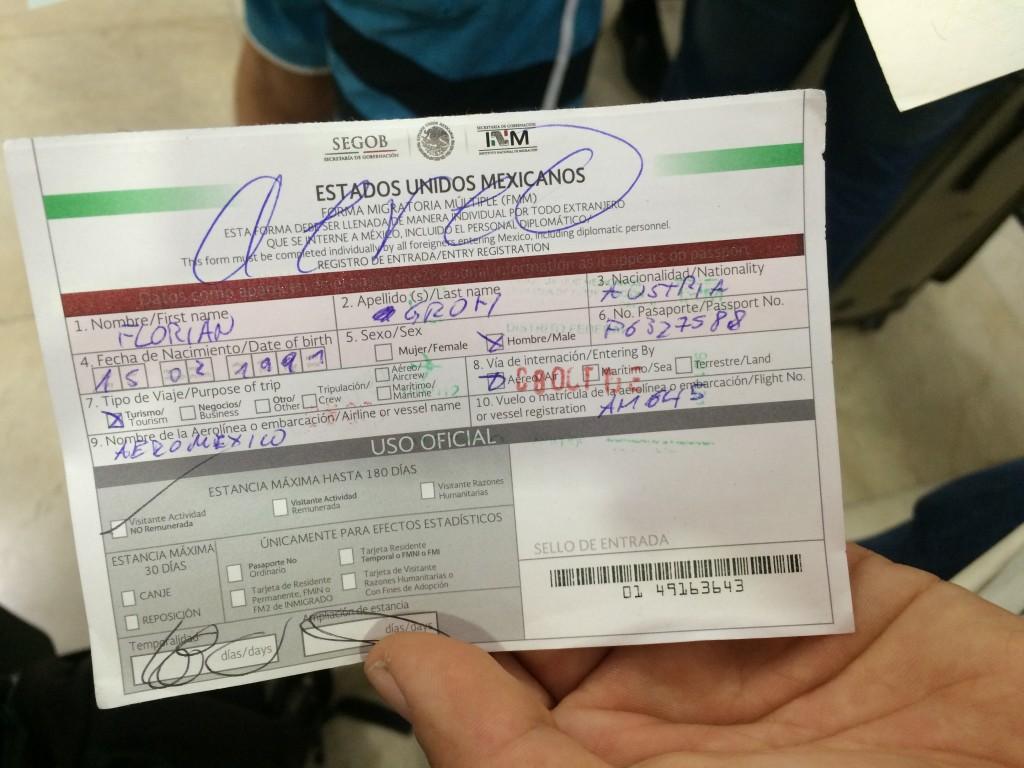 Eindeutig ein Flugzeug zu sehen, die Dame beim immigration Office hat einfach aereo dazu geschrieben