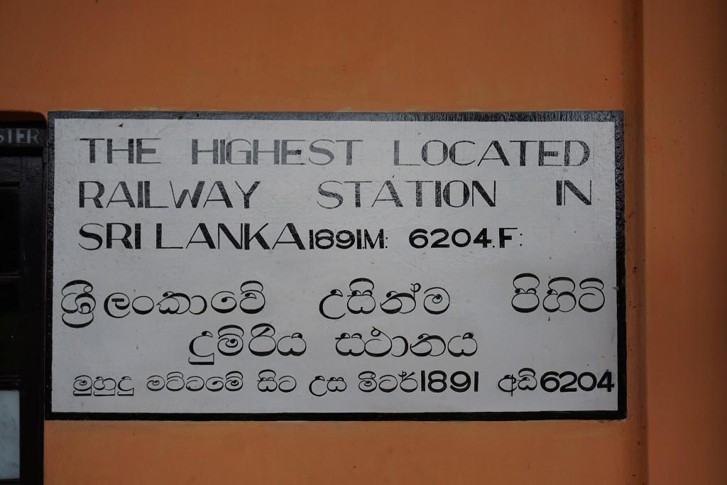 Wie ihr selbst lesen könnt, ist Pattipola mit 1891 Metern der höchste Bahnhof Sri Lankas